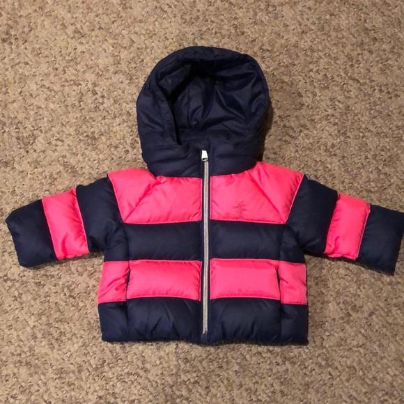 f115b4116 Ralph Lauren Jackets & Coats | Navy Pink Puffer Winter Logo Jacket ...